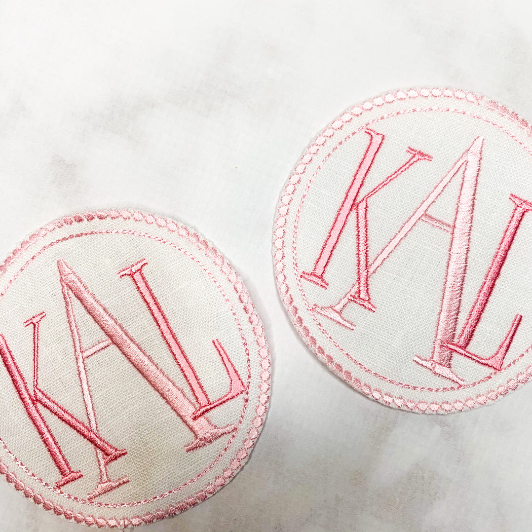 Monogrammed coasters cocktail napkins - pink and white