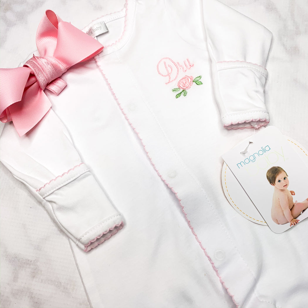 Baby Girl Coming Home footie, Personalized baby Gift