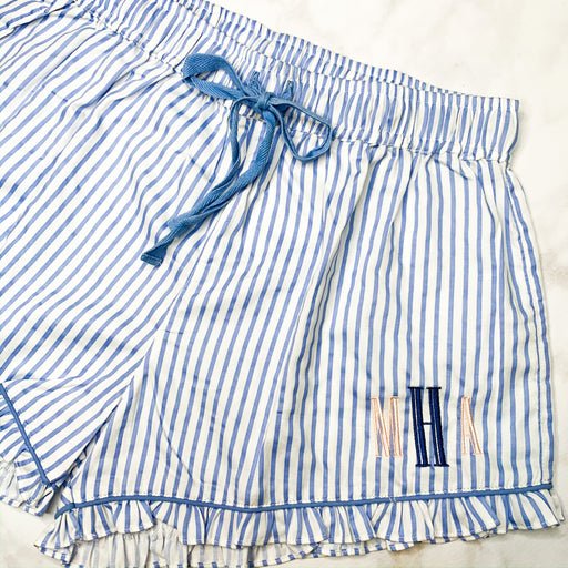 Ruffled sleep shorts - Blue and White Stripe Monogramed