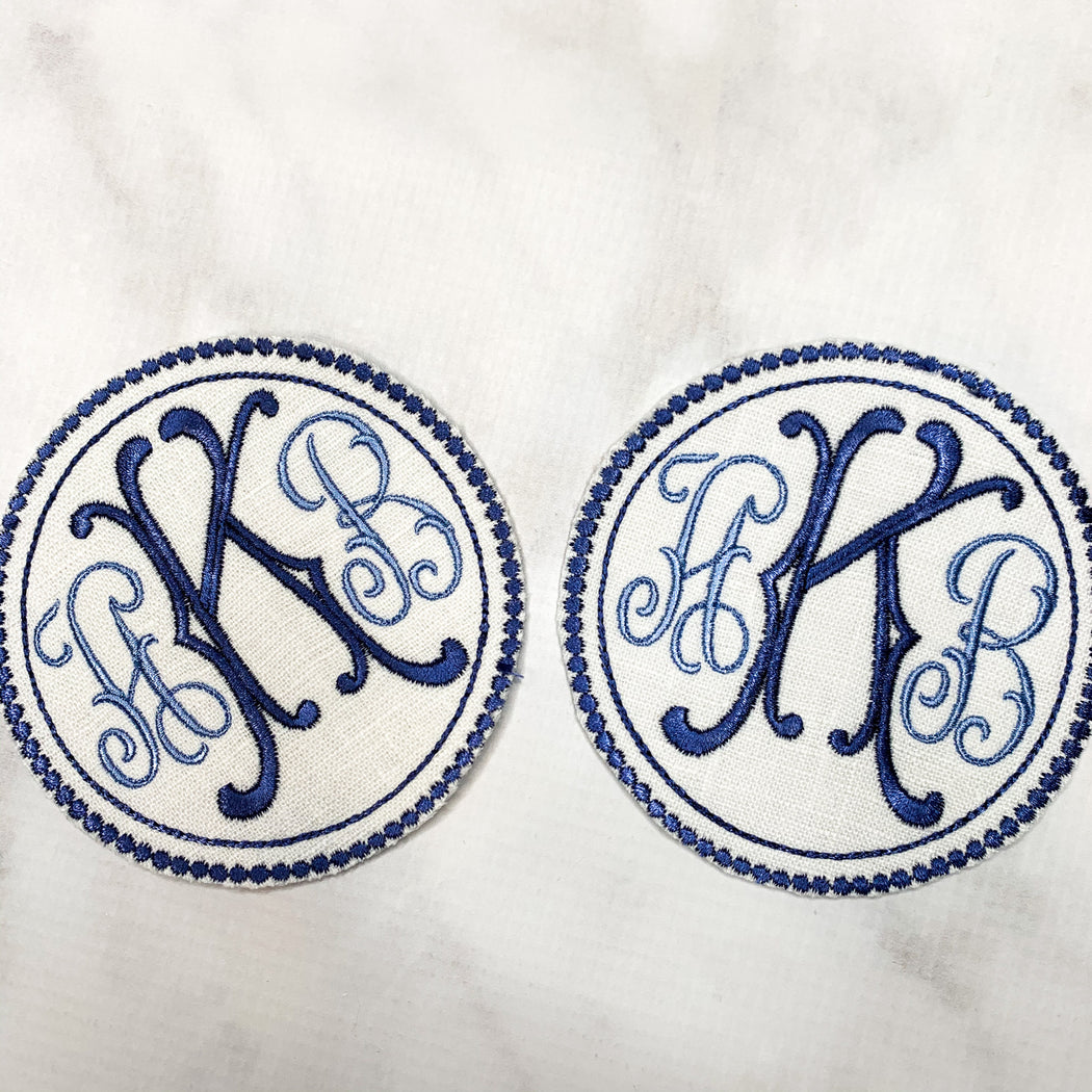 Monogrammed coasters cocktail napkins - blue and white