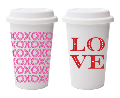XOXO Wrapped and LOVE Disposable Coffee Cups