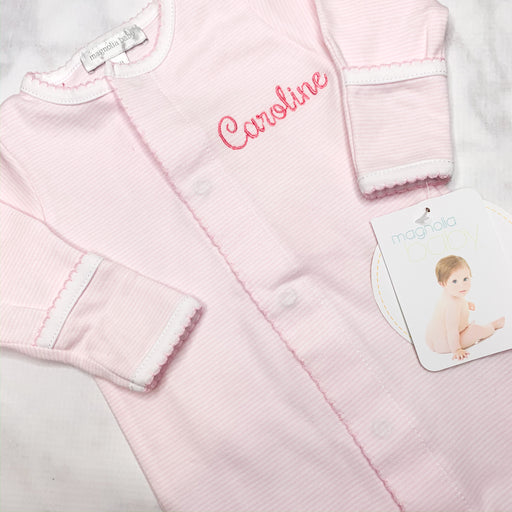 Baby Girl Pink and White mini-stripe Monogrammed footie ,Personalized baby Gift