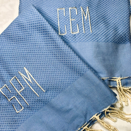 Turkish Beach, Bath Towel Monogrammed - Blue