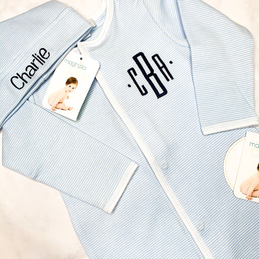 Baby Boy blue and white mini stripe Monogrammed footie ,Personalized baby Gift