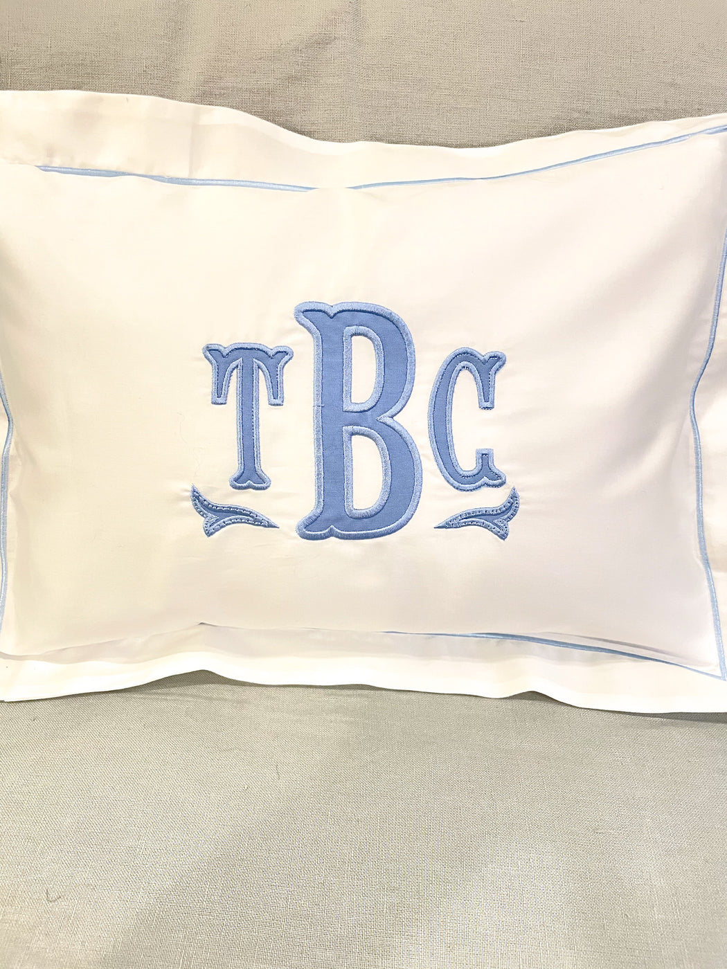 Appliquéd monogrammed Baby Boy pillow boudoir size for Nursery