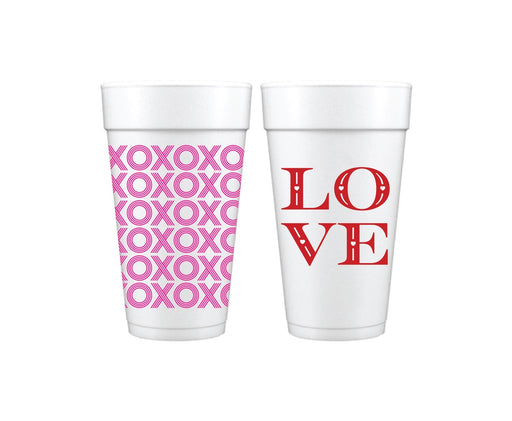 XOXO Wrapped and LOVE Disposable Styrofoam Cups