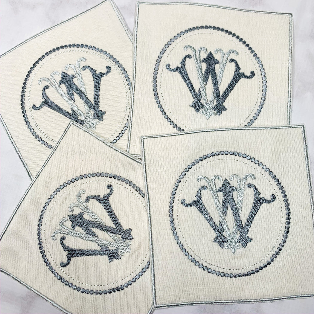 Linen Monogrammed Cocktail Napkins Coasters with embroidered edge Gray