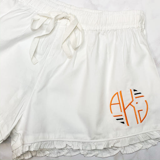 Ruffled sleep shorts - White, Monogramed