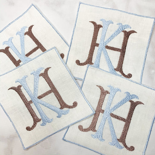 Linen Monogrammed Cocktail Napkins Coasters with embroidered edge Blue and Brown