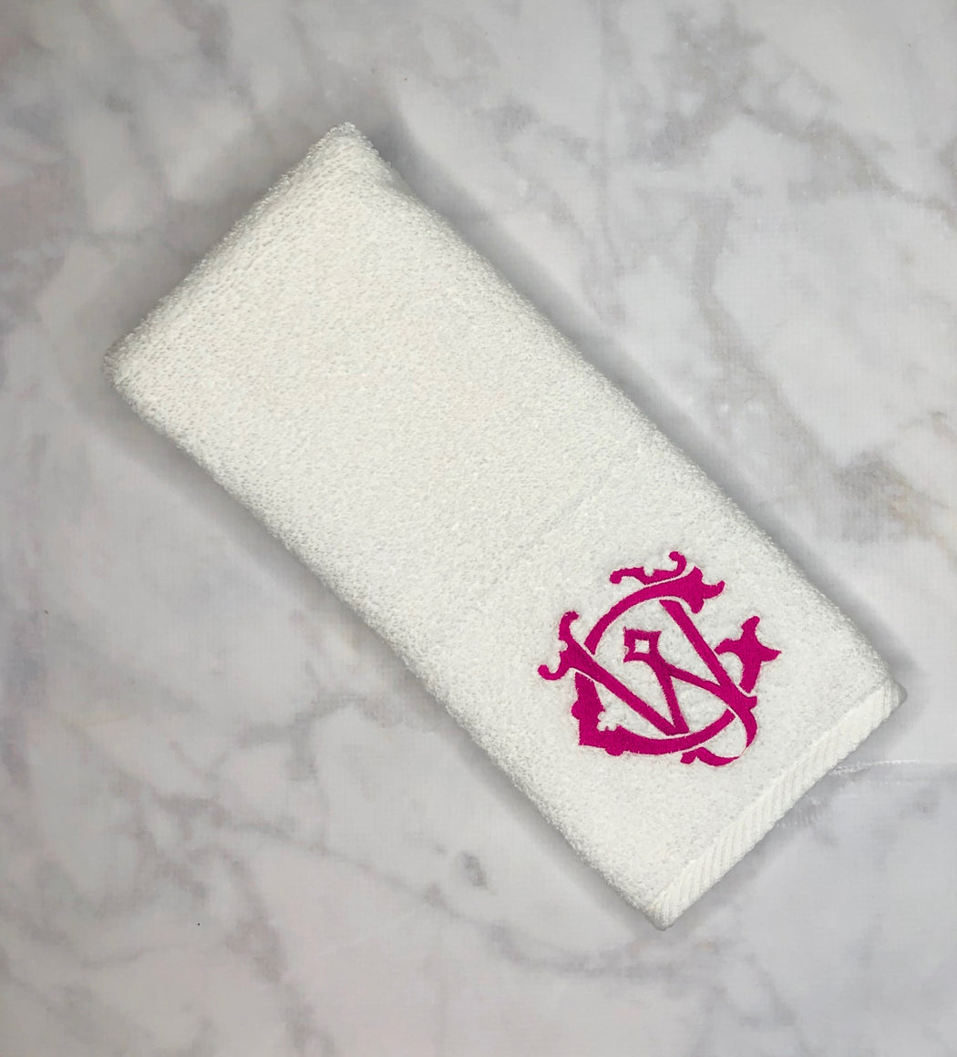 Monogrammed Terry Microfiber Cotton White Hand Towel