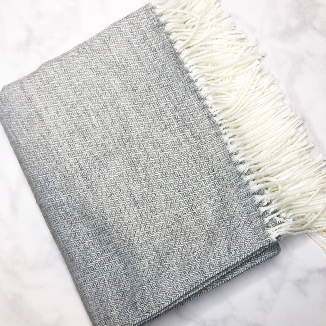 Light Grey Herringbone Microfiber Throw Blanket