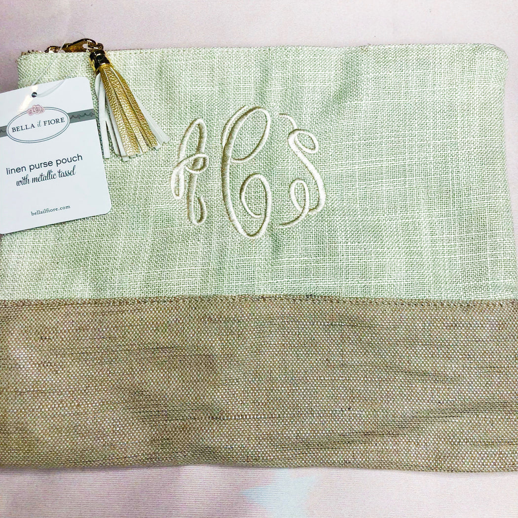 Linen Purse Pouch with Metallic Tassel