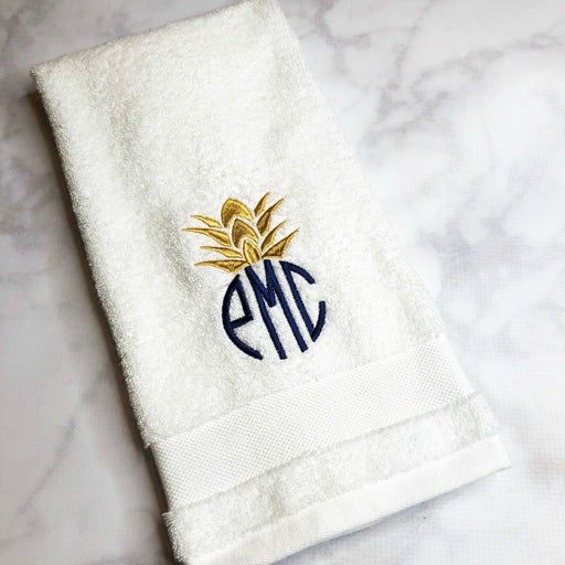 Monogrammed Egyptian Cotton White Hand Towels