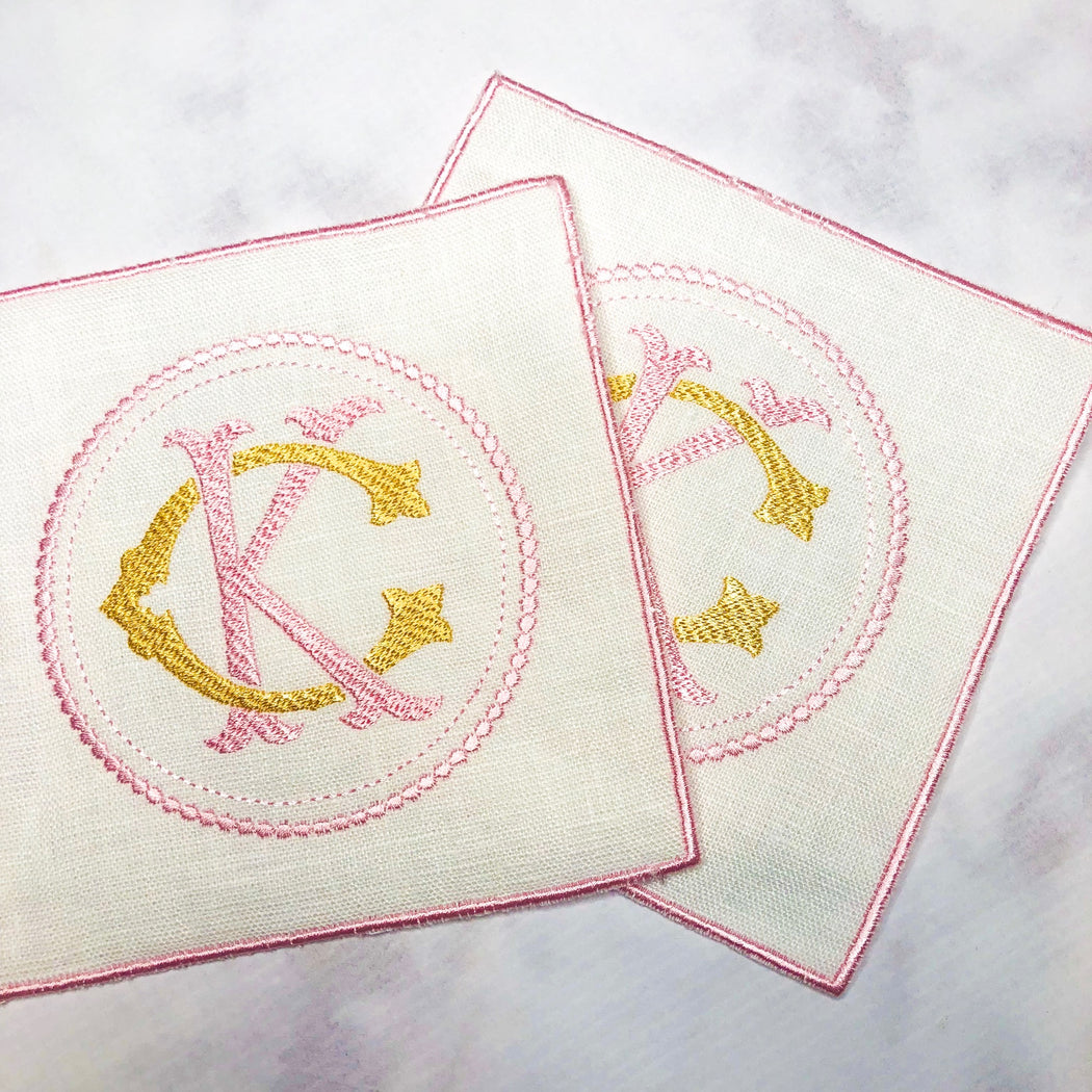 Linen Cocktail Napkin with Embroidered edge - Pink and Yellow/Gold Circle