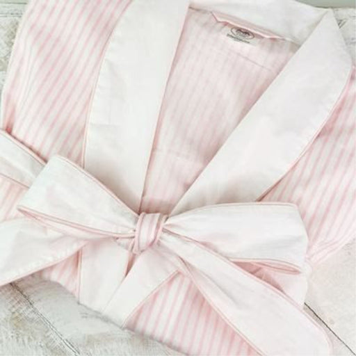 Pink and White Striped Pima Cotton Robe