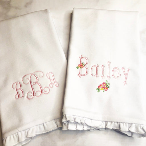 Baby Girl Personalized Ruffle Burp Cloth Set of 2 - Monogram / Roses Theme