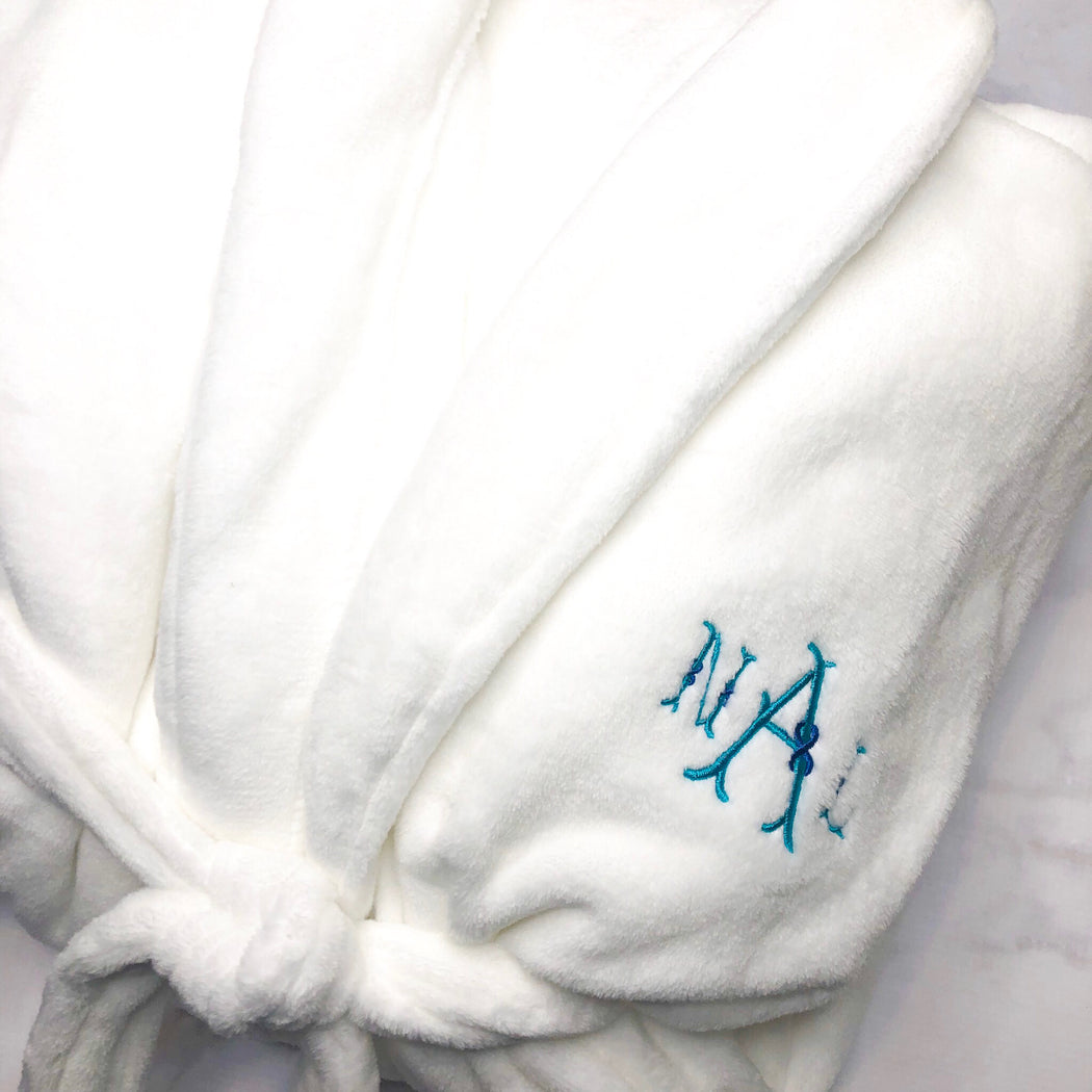 White Ultra Plush Spa Robe Monogrammed