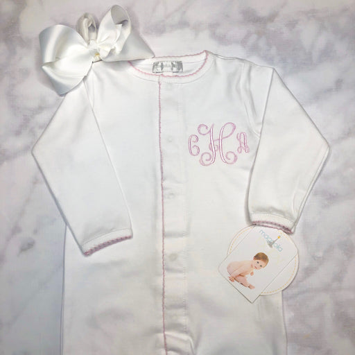Baby Girl Coming Home Outfit, Monogrammed footie, Personalized baby Gift