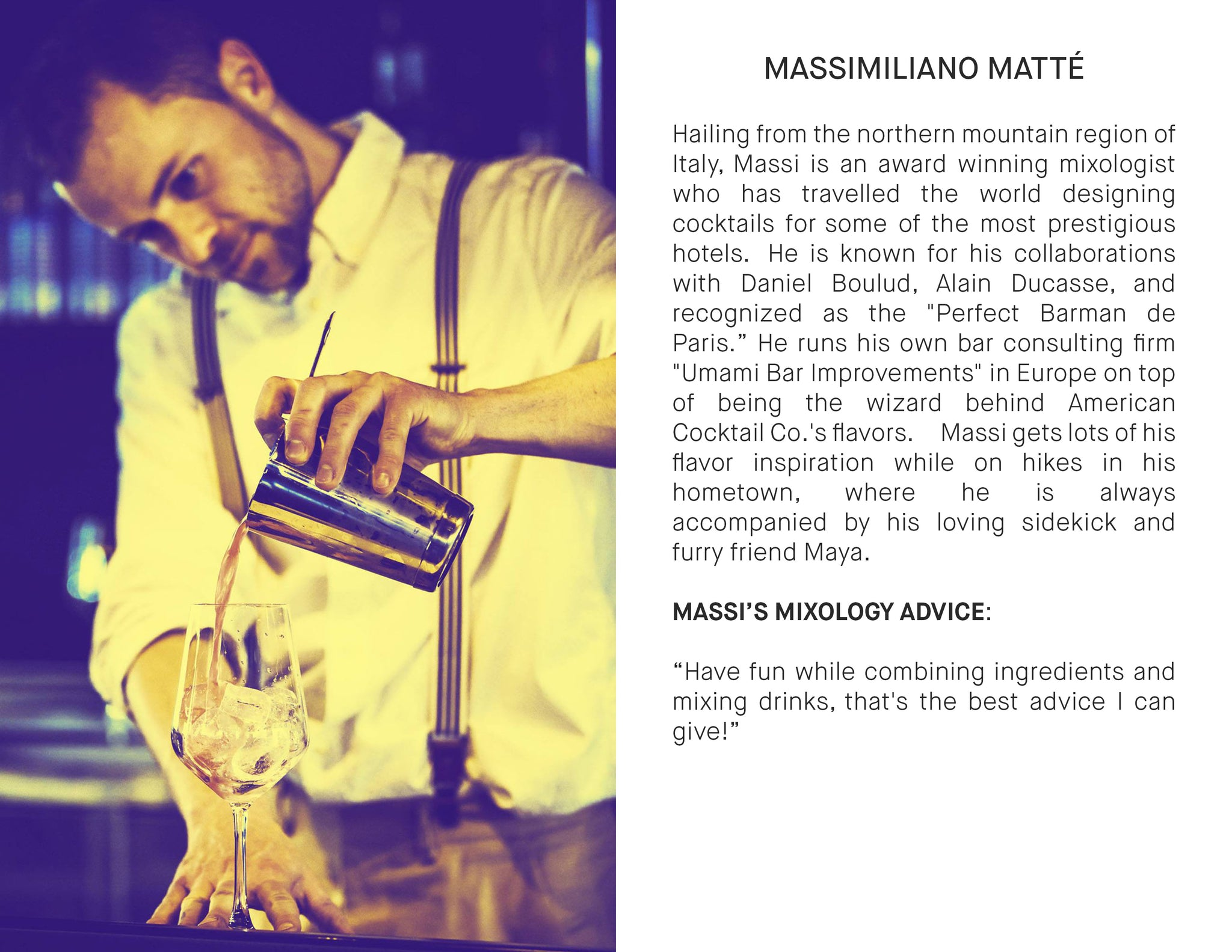 massimiliano matte, mixologist, craft cocktail