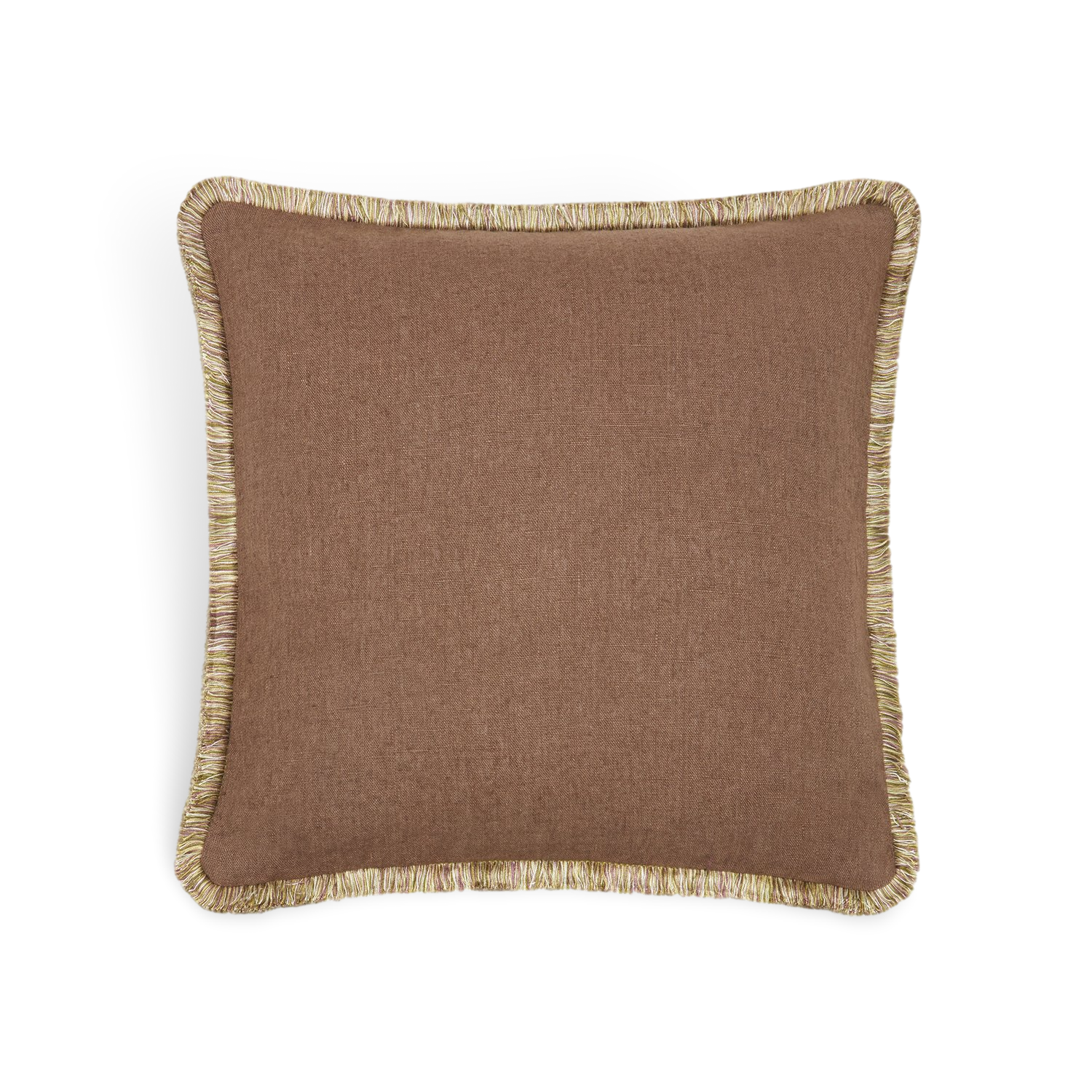 FRINGE LINEN 'CHOCOLATE' CUSHION