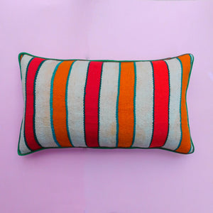 LARGE ORANGE AND RED STRIPE CUSHION - 7