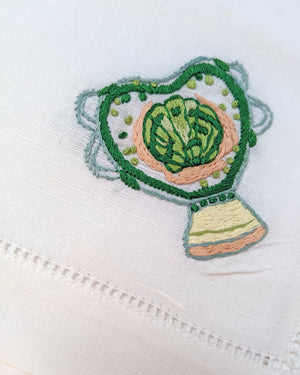 POLLY FERN X HOST HAND-EMBROIDERED 'ROMANTIC VASE' NAPKINS - SET OF 4