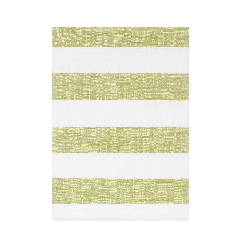 GREEN STRIPE LINEN BATH TOWEL