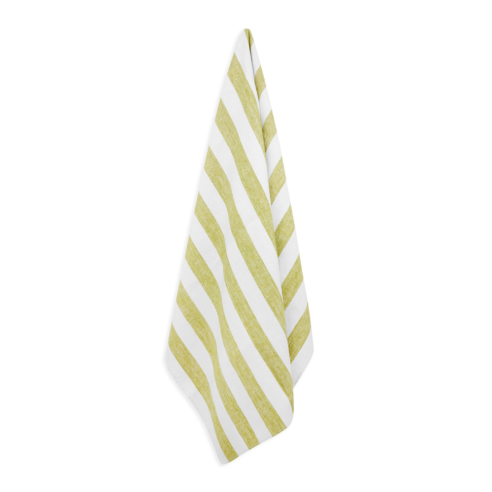 GREEN STRIPE LINEN BEACH TOWEL