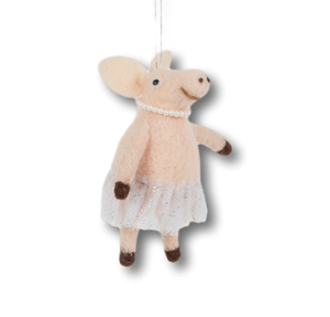 FELT BALLERINA PIG CHRISTMAS DECORATION