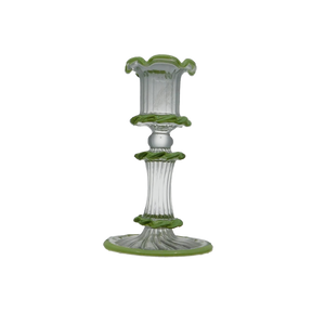ZELDA GLASS CANDLESTICK - GREEN