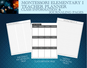 It is always great to have your important reference information in one place. These sheets are designed to do just that.  Journal pages help the Montessori teacher always have journaling pages handy at school.