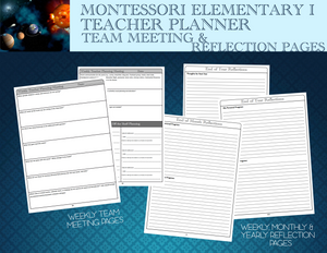 These sheets are designed to support Montessori Teachers in discussing what is coming up, what needs to change, who needs to be contacted, what special things a child may need, and how the transformation of the teacher is coming along.
