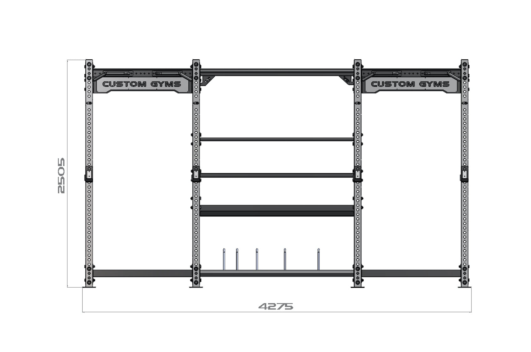 Raider Double Full Rack and Storage | Squat Rack