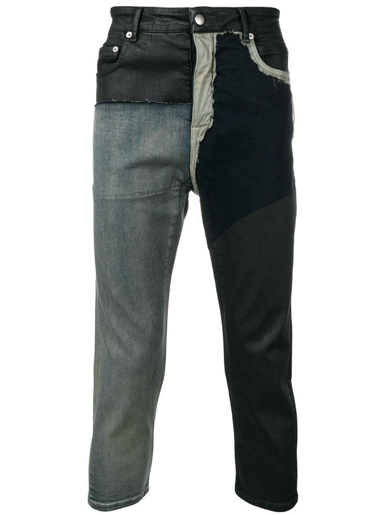 RICK OWENS cropped patchwork jeans