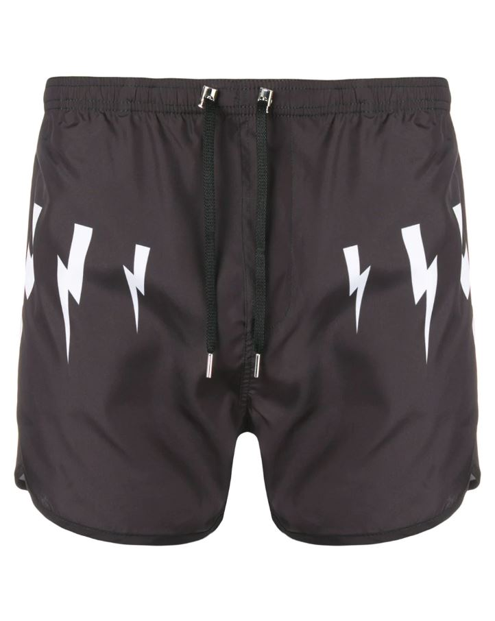 NEIL BARRETT lightning print running shorts