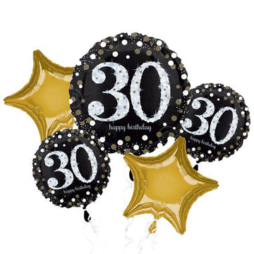 30th Birthday Sparkling Celebration Balloon Bouquet - Assorted Foil 28