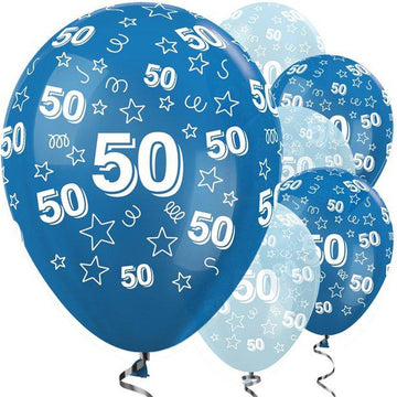 50th Birthday Blue Mix Stars Balloons - 12