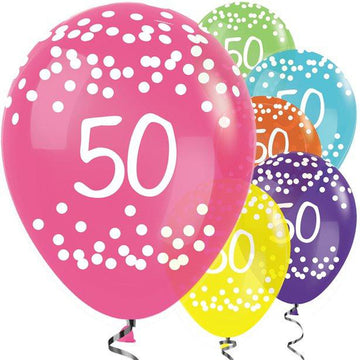 50th Birthday Tropical Mix Balloons - 12