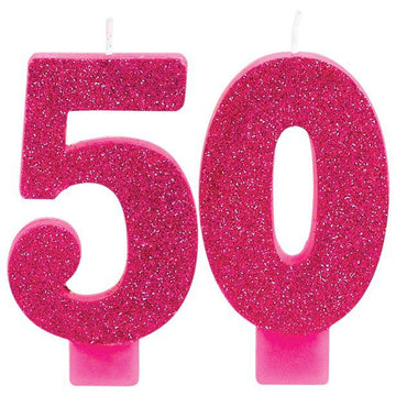 50th Pink & Gold Milestone Candles (each)