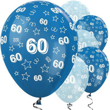 60th Birthday Blue Mix Stars Balloons - 12