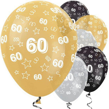 60th Birthday Gold Mix Stars Balloons - 12