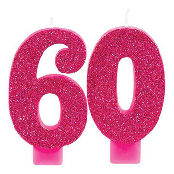60th Pink & Gold Milestone Candles (each)