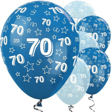 70th Birthday Blue Mix Stars Balloons - 12