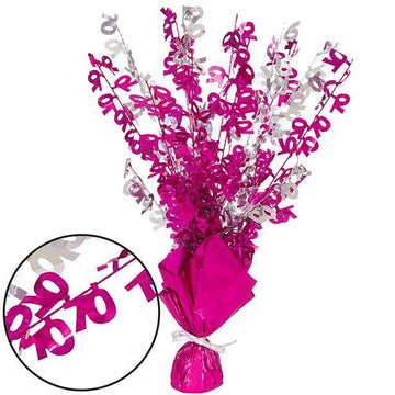70th Birthday Pink Foil Spray Table Centrepiece - 43cm (each)