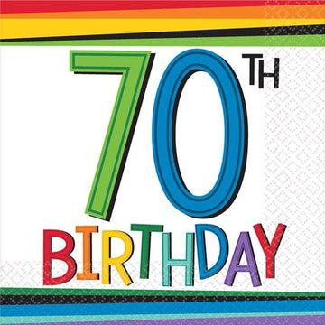 Birthday Brights 70th Birthday Beverage Napkin - 25cm (16 pk)