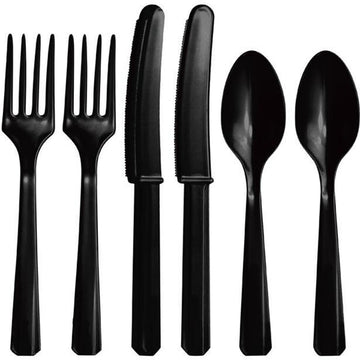 Black Reuseable Plastic Cutlery - Assorted Party Pack (24 pk)