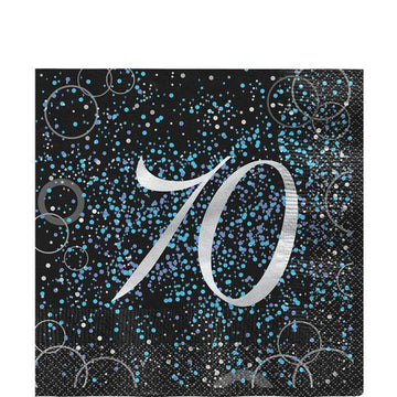 Blue Glitz Lunch Napkin 70th (16 pk)