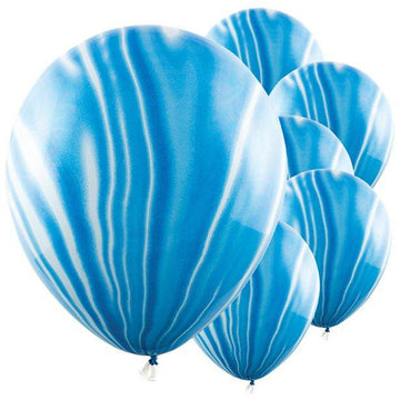 Blue Marble Latex Balloons - 12