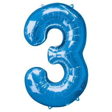 Blue Number 3 Balloon - 34
