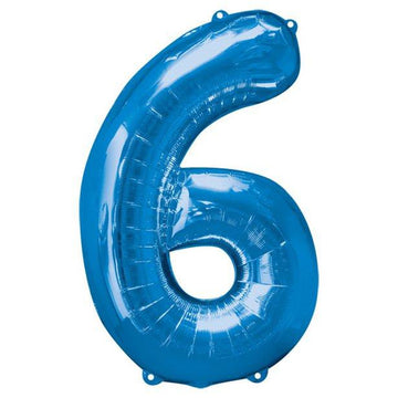 Blue Number 6 Balloon - 34